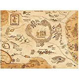 IDOLN1 Camelot Map King Arthur Art Canvas Painting Posters Wall Art Prints for Living Room Home Wall Decor Gift -20x28 Inch No Frame 1 PCS