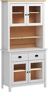 vidaXL - Cómoda de madera de pino macizo 90 x 40 x 180 cm color blanco