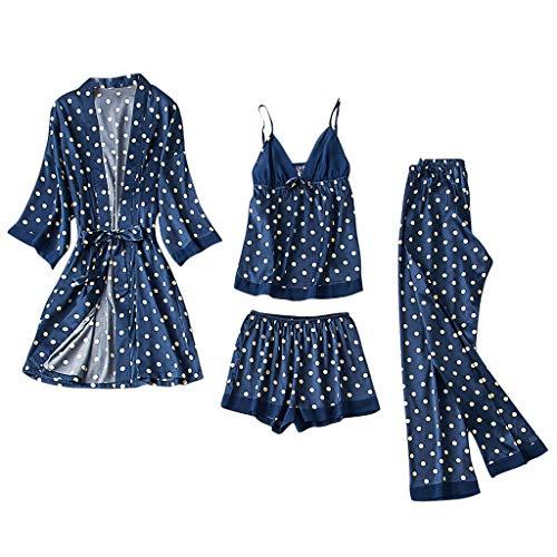 LoveLetter Damen Pyjama-Set, 4-teilig, Herbst und Winter, sexy, Strapsrock für Erwachsene Nachtwäsche Mode Dessous Babydoll Kleid Rückenfrei Zweiteilige Nachthemd Schlafanzüge Negligee Wäsche Set