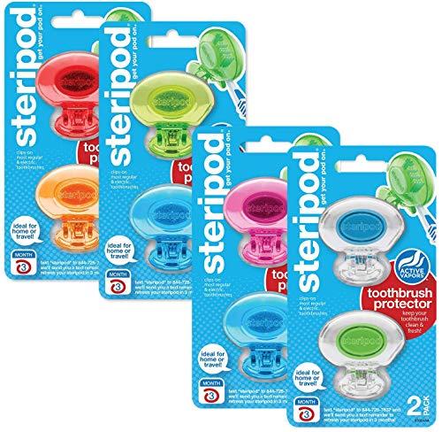 Steripod Zahnbürstenschutz zum Aufstecken, mehrfarbig, 8 Stück