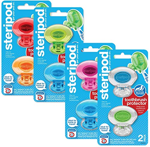 Steripod ClipOn Toothbrush Protector Exclusive Multi Color 8 Count
