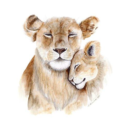 Mom and Baby Lion Watercolor Nursery Wall Art Print In Various Sizes, Safari Animal Nursery Decor