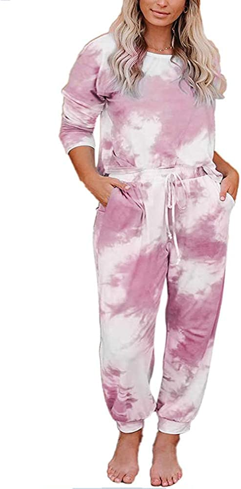 Womens Tie Dye Long Sleeve Sweatsuit 2 Piece Pullover Sweatshirts and Drawstring Sweatpants Sets with Pockets