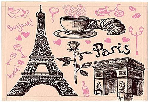 EdCott Paris Alfombra baño Torre Eiffel Arco Triunfo Rose Alfombrilla Antideslizante Entradas Piso Alfombrilla Puerta Interior Alfombras baño Espuma Memoria Alfombra baño para niños 15.7x23.6in