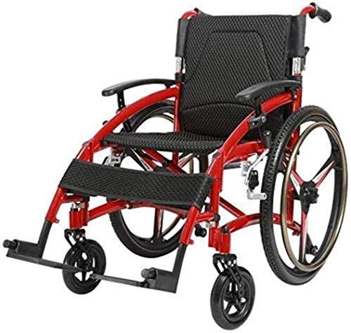 HZYDD Silla de Ruedas autopropulsadas - Transporte de aleación de Aluminio Ultraligero Viajes cómodos con Silla de Ruedas Ancianos/con discapacitados/Scooter de Viaje, con Frenos convenientes