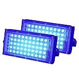 POHOVE Luz inundación 50W 220V Paisaje Alto Brillo Jardín 50 LED Soporte Ajustable Reflector Exterior Montado en la Pared Patio la Calle Foco Exterior Impermeable(2 piezasLuz Azul)