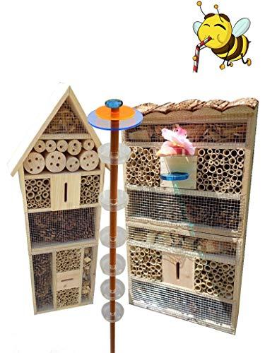ÖLBAUM Gartendeko-Stecker mit Lichteffekt, Sonnenfänger als funktionale Bienentränke + 2X BIENENHAUS Insektenhaus,XXL Bienenstock & Bienenfutterstation für Wildbienen, Hummeln, Schmetterlinge