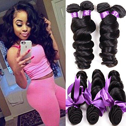 Shireen Peruvian Virgin Hair Loose Wave 3 Bundles 8A Unprocessed Loose Deep Wave Wet and Wavy Human Hair Extensions Natural Black (10 12 14inch)