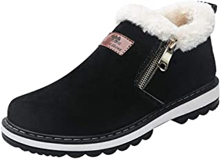 Coolloog Men's High Top Snow Boots Zipper Closed Fur Lined Suede Winter Shoes