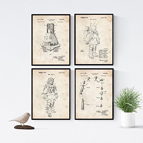 Nacnic Vintage - Pack de 4 Láminas con Patentes de Astronautas. Set de Posters con inventos y Patentes Antiguas. Elije el Color Que Más te guste. Impreso en Papel de 250 Gramos de Alta Calidad