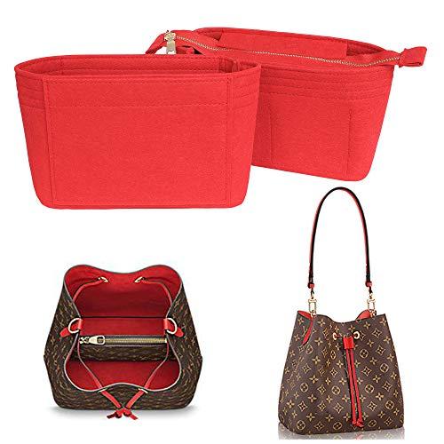 Yoillione Bag in Bag Handtaschen Organizer Rot, Klein Taschenorganizer Filz Organizer Tasche, Innentaschen für Handtaschen Einsatz, Taschen Organisator Reißverschluss für Noe Neonoe Organizer