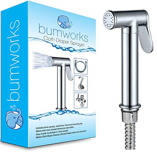 Bumworks Cloth Diaper Toilet Sprayer Kit - Brass Chrome Hand Held Bidet w/Metal Hose, T-Valve (7/8 inch), and Mounting Clip Attachment Adapter (3-Way Valve)