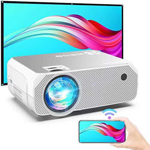 Bomaker Proyector WiFi, Proyector Portátil 6000 LM Soporte Full HD Resolución Nativa 720P Inalámbrico Mini Cine en Casa , Presentación en Casa, HDMI/USB/VGA/AV/Micro SD GC355