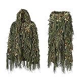 qxj Tarnanzug,Ghillie Suit,Woodland Camouflage Anzug Kleidung Für Jagd Verdeckt Festschmuck,bestehend Aus Jacke,Hose,Tragetasche,Green-OneSize