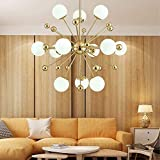 YANG1MN Satellite Modern Fireworks Chandelier Pendant Ceiling Chandelier Opal Glass Shade Electron Plated Interior Ceiling Fixture Ceiling Lights (Color : 12 Lights)