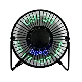 USB LED Fan JUSTUP Portable Desk Fan with Real Time Date and Temperature Display Personal Table Cooling Fan 360Rotation Durable for Home and Office (Metal Design Low Noise 5 Inch, Black) (SW)