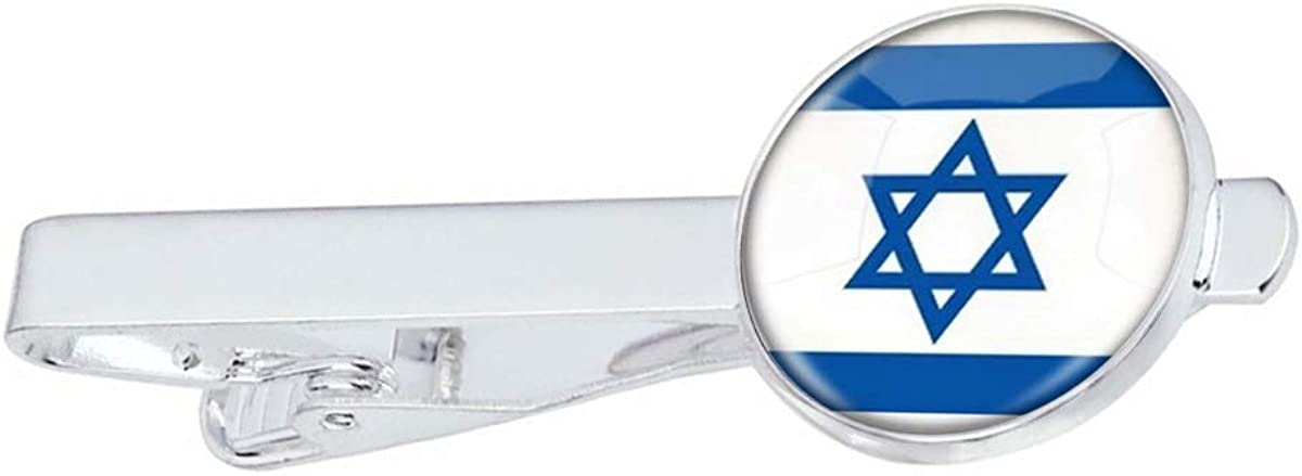LooPoP Men Tie Clip The State of Israel National Flag Stainless Tie Pins for Business Wedding Shirts Tie Clips Include Gift Box