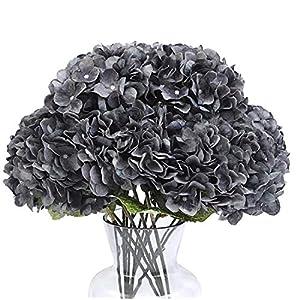 kimura's cabin black silk hydrangea flowers artificial bouquets arrangement faux hydrangea stems 5 heads for home table centerpieces wedding halloween party decoration (dusty black blue) silk flower arrangements