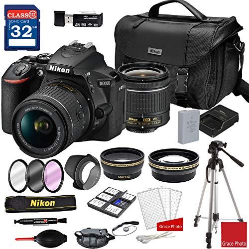 Nikon D5600 DSLR Camera with AF-P DX NIKKOR 18-55mm f/3.5-5.6G VR Lens + Nikon DSLR Camera Case + 32GB Memory Bundle (24pcs)