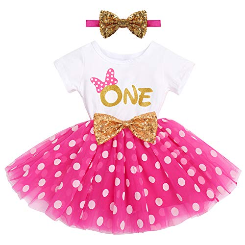 First Birthday Girl Outfit It's My 1st Birthday Outfits Cake Smash Photo Props Baby Shower Christmas Outfit Hot Pink Tutu Skirts Mouse Dress Sequins Headband Toddler Summer Short Sleeve Clothes 1 Year