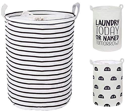 CAM2 20 Cestas \ lazo de lavandería plegables grandes cestas de la ropa a prueba de agua cordón Negro raya, valor: Lazo Negro raya