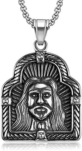 CCXXYANG Co.,ltd Collar Envío Directo Color Plata 316L Acero Inoxidable Jesucristo Colgante Collar Cristiano Amuleto Collar Mujeres Hombres Joyería 60 Cm