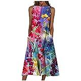 Vestidos para Mujer Verano Casual Playa Cuello Redondo Estampado Floral Vestido Sin Mangas Camisola Vestido Largo Vestido Largo Bohemio con Bolsillos