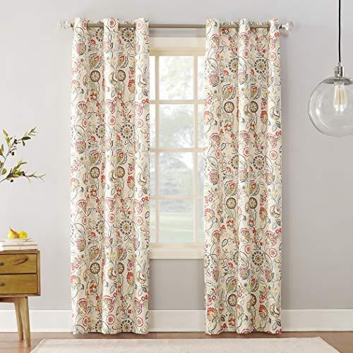 "Sun Zero Cooper Botanical Print Thermal Insulated Room Darkening Grommet Curtain Panel 40"" x 84"" Linen"