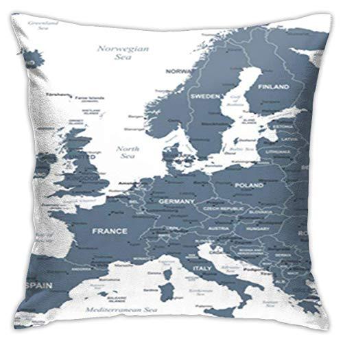 Fundas de Almohada de 45x45cm Fundas de Almohada Gris Austria Mapa de Europa Detallado Bélgica Ciudades Capitales Ciudad