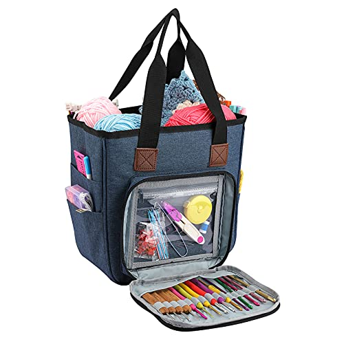 QZLKNIT Yarn Tote Bag, Knitting Organizer Tote Bag Portable Storage Bag for Yarns, Carrying Projects, Knitting Needles, Crochet Hooks, Manuals and Other Accessories (Blue)