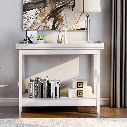 LIFE CARVER Konsolentisch Beistelltisch Regal Aufbewahrung Holz Diele Schreibtisch für Wohnzimmer Schlafzimmer Flur...