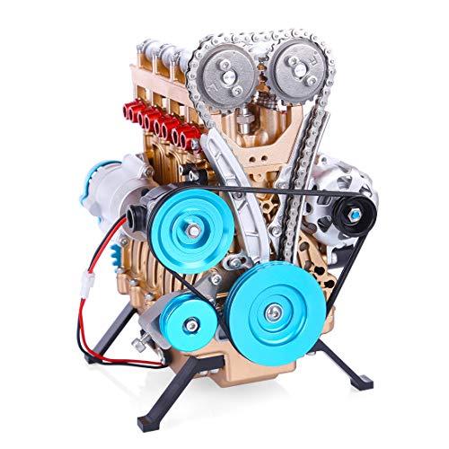 MAJOZ0 Stirlingmotor, Sterling Engine Selbst Bausatz,DIY Stirling Motor, Handwärme Stirling Pädagogisches Spielzeug, Ganzmetall Vierzylinder Motor Bausatz Modell Spielzeug für Erwachsene