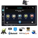 PolarLander Autoradio Bluetooth,Vivavoce Autoradio, Android 5.1.1 Auto Audio Stereo, Mirrorlink per Telefono Android e iPhone, 12V MP3 Player WiFi GPS AM FM AUX SD USB con Telecamera Posteriore