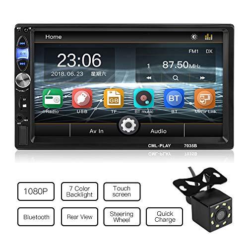 MiCarBa Universal 7 Zoll 2 Din Autoradio, Auto Autoradio Videorekorder Touch HD 1080P, Auto Stereo Unterstützung FM Android 4.0-8.0 Telefon Spiegelverbindung mit hinterer Kamera (CL7035B)