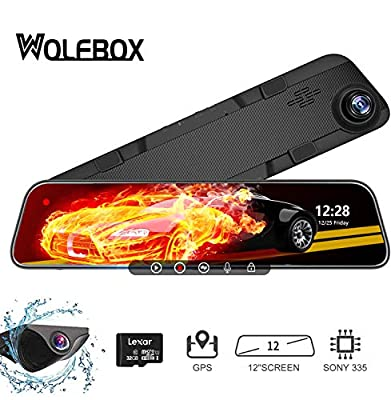 WOLFBOX 12'' 1296P Mirror Dash Cam Front and Rear Camera,Parking Monitor,GPS,Video Upside Down, Sony IMX335 Full Touch Screen with LDWS and Night Vision,Free 32G Card