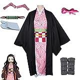 kelihood Disfraz de anime japonés, cosplay, disfraz de Kamado Neozo con tubo de bambú, para mujer, anime, demostración, juego de rol, disfraz de Halloween (niños, L-130 cm)