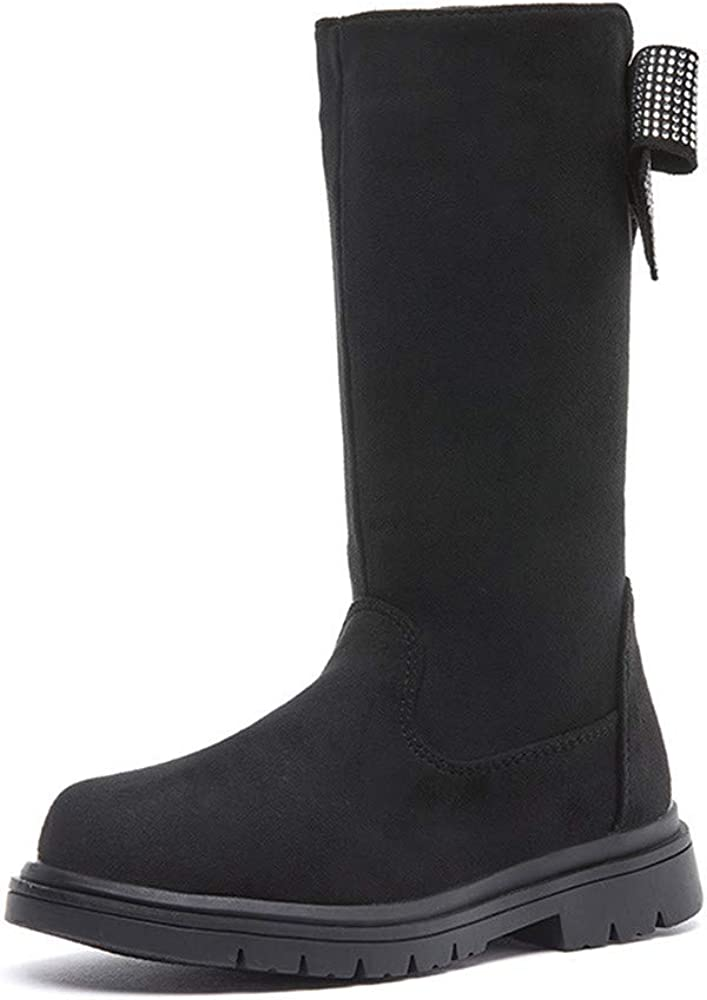 Dayiss Girl's Mid Calf Solid Color Heel Max 49% OFF Boots Girls Selling rankings Flat Fashion