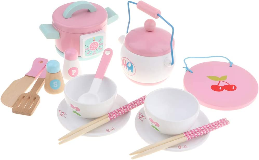 Ranking TOP3 LoveinDIY Play House Wooden Toy Bowl Set Pot Cooking Spring new work one after another Kitchen Pre