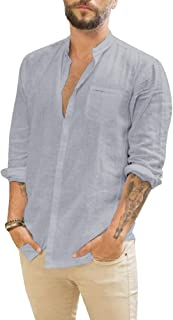 قمصان Pengfei رجالية من القطن والكتان قميص صيفي كاجوال 3/4 كم