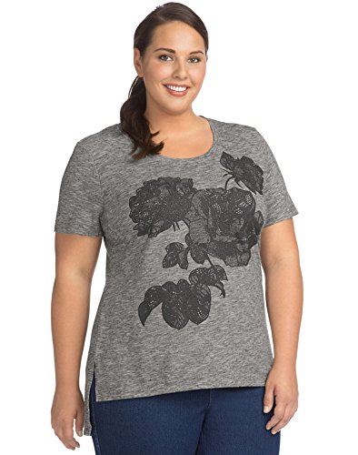 JUST MY SIZE Women's Size Plus Short Sleeve Graphic Tunic, Lace-Filled Roses/Black Heather, 5X