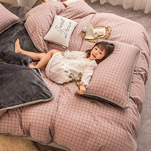 double crushed velvet bed,A pure cotton B coral fleece four-piece bed thick double-sided winter flannel duvet cover-New rhythm_1.8m bed 200x230cm 4pcs