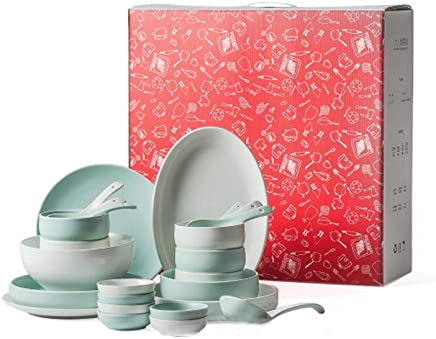 YASE-king 26 - Piece Set, Household Dinnerware Set, Service for 6, Bowls Plates Set, 1300° High Temperature Firing, with Gift Box
