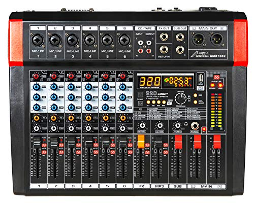 Audio2000'S AMX7382 Six-Channel Powered Audio Mixer with 320 DSP Sound Effects, Stereo Sub Out with Sub-Out Level-Control Fader, Level-Control Faders on All Channels, and USB/Computer Interface