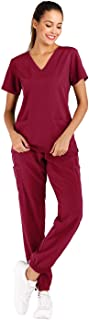 Minty Mint Women's Solid Stretch Medical Uniform Scrub Set V Neck Top Cargo Tapered Jogger Pants