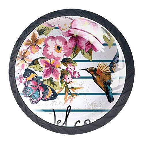 YATELI Perillas de extracción de para gabinetes,armarios,Puertas y cajones de Muebles: se Venden como un Paquete de 4 perillas,Vintage zumbido pájaro Mariposa Floral