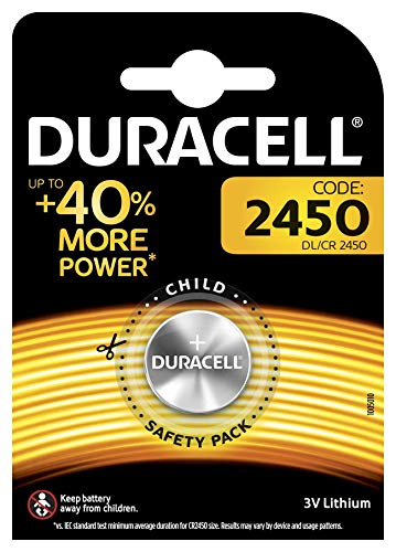 Duracell 2450 - Pila especial de botón de litio de 3V, DL2450/CR2450, diseñada para uso en llaves con sensor magnético, básculas, elementos vestibles y dispositivos médicos, paquete de 1 unidad