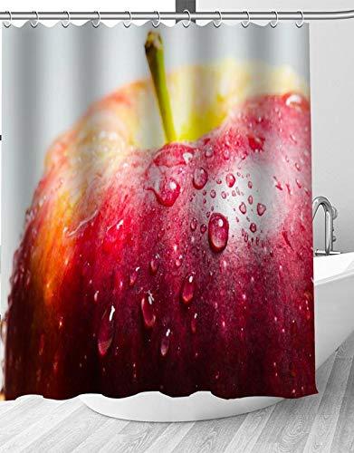 YEDL Roter Apfel Duschvorhang Moderne Stoff Badvorhänge Wohnkultur Gardinen 180 × 180 cm