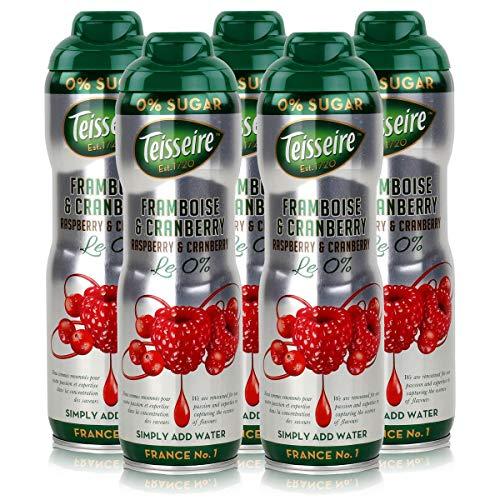 Teisseire Getränke-Sirup Raspberry & Cranberry 0% - 600ml - Sirup der genauso schmeckt wie die Frucht (5er Pack)