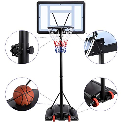 YAHEETECH 7.2-9.2ft Basketball Hoop Backboard System Portable Removeable Basketball Hoop
