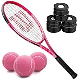Wilson Burn Pink 19 Inch Girls' Tennis Racquet Bundled with 3 Black Overgrips and a...
